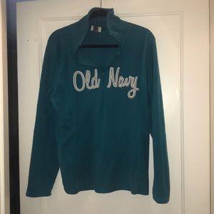 Old Navy teal fleece pullover 1/4 zip sweatshirt